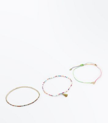 3 Pack Multi Coloured Beaded Anklets