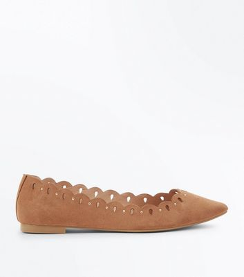Tan Suedette Studded Cut Out Pointed Pumps