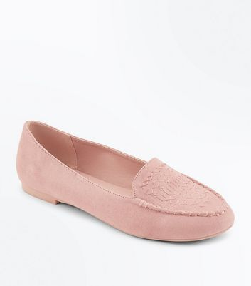 Nude Suedette Cross Stitch Embroidered Loafers