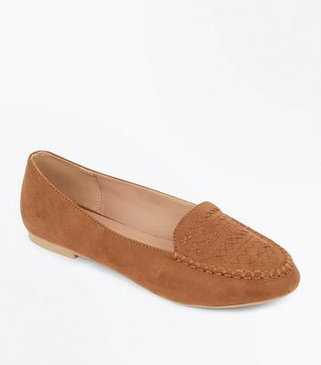 Tan Suedette Cross Stitch Embroidered Loafers