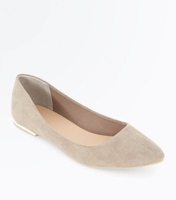 Light Brown Suedette Metal Heel Pointed Pumps