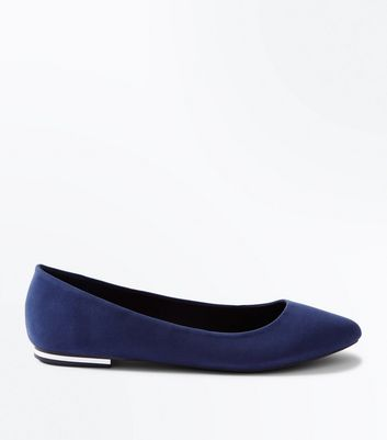 Navy Suedette Metal Heel Pointed Pumps