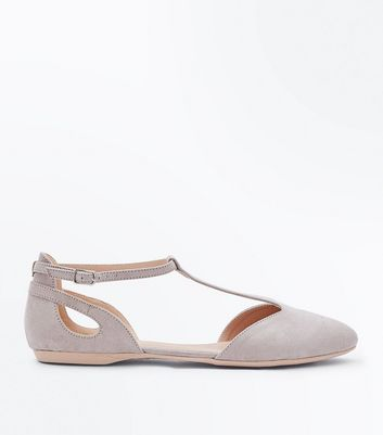 Grey Suedette T-Bar Pointed Pumps