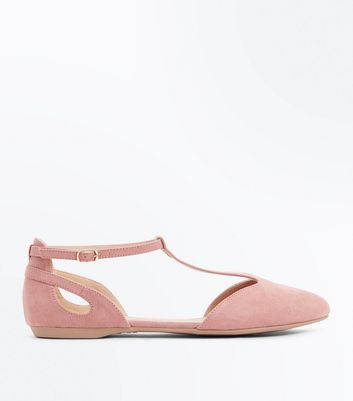 Pink Suedette T-Bar Pointed Pumps