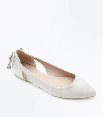 Grey Suedette Tassel Bow Back Pointed Pumps