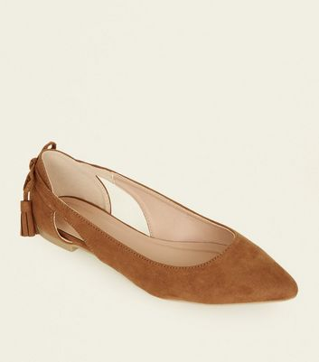 Tan Suedette Bow Back Pumps
