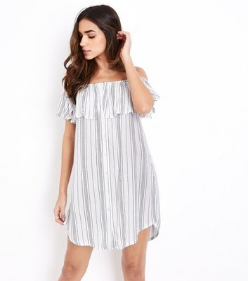 White Stripe Bardot Neck Beach Dress
