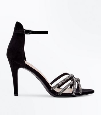 Black Comfort Flex Suedette Crystal Strappy Sandals