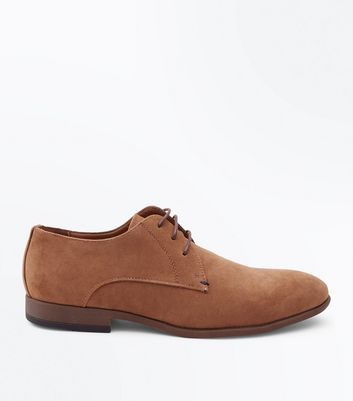 Brown Faux Suede Stitch Side Derby Shoes