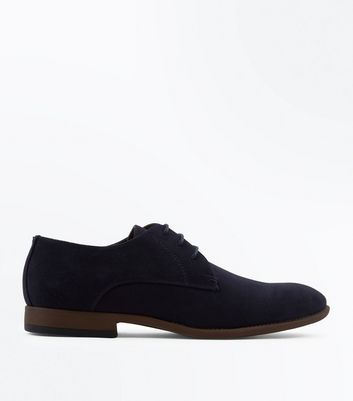 Navy Faux Suede Stitch Side Derby Shoes