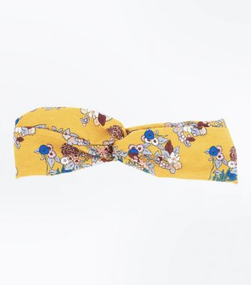 Yellow Floral Print Top Knot Hair Band