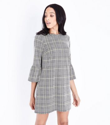 Grey Check Bell Sleeve Tunic Dress