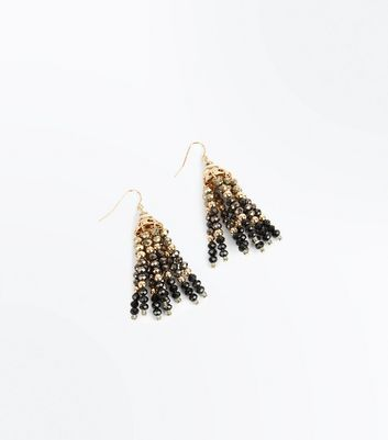 Multi Colour Bead Tassel Chandelier Earrings