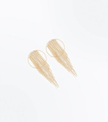 Gold Tassel Chain Hoop Earrings