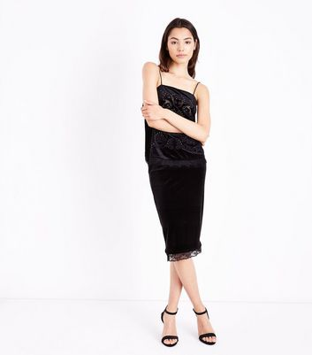 Black Velvet Lace Hem Pencil Skirt