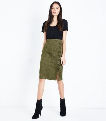 Khaki Suedette Lace Up Pencil Skirt