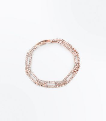 Rose Gold Diamante Bar Bracelet