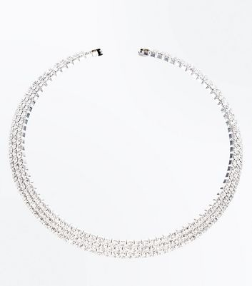 Silver Diamante Embellished Torque Necklace