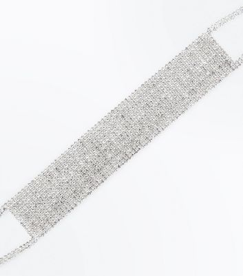 Silver Diamante Embellished Wide Choker