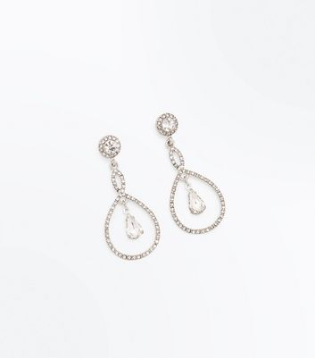 Silver Diamante Loop Drop Earrings