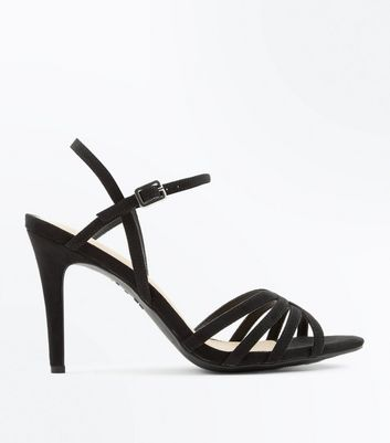 Black Comfort Flex Suedette Strappy Sandals