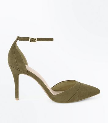 Khaki Comfort Flex Suedette Pointed Court Shoes