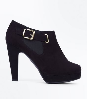 Black Comfort Suedette Platform Buckle Side Shoe Boots