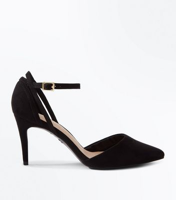 Black Comfort Flex Suedette Cut Out Pointed Courts