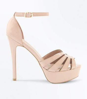 Nude Patent Strappy Stiletto Heel Platform Sandals