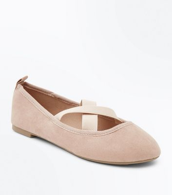 Wide Fit Nude Suedette Elastic Cross Strap Pumps