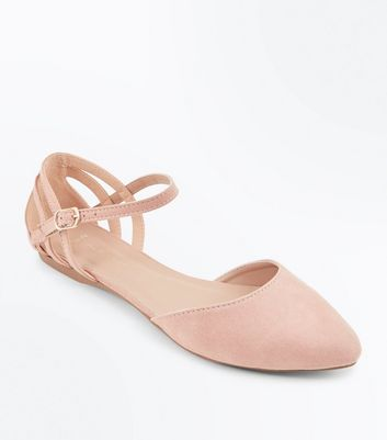 Wide Fit Nude Suedette Caged Back Pumps