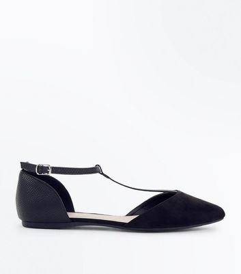 Wide Fit Black Suedette T-Bar Pumps