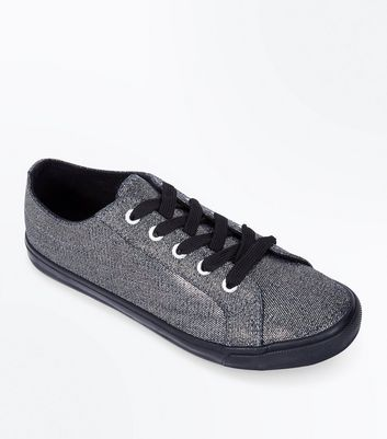 Wide Fit Pewter Metallic Lace Up Trainers