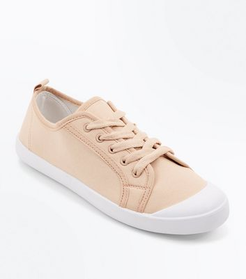 Pink Canvas Lace Up Trainers