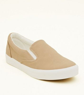 Mink Suedette Slip On Trainers