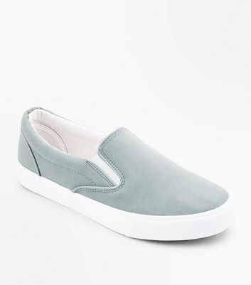 Mint Green Suedette Slip On Trainers