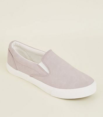 Lilac Suedette Slip On Trainers