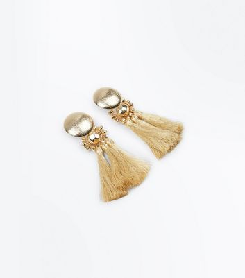 Gold Metallic Tassel Earrings