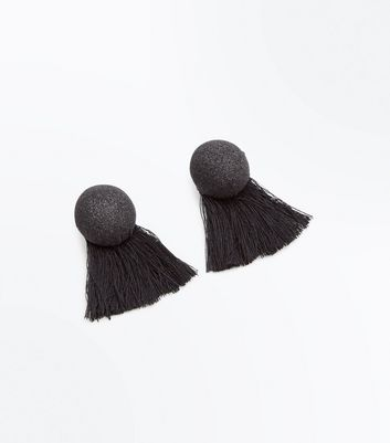 Black Glitter Stud Tassel Earrings