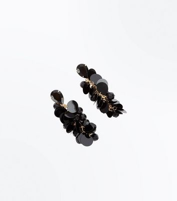 Black Sequin Bead Earrings