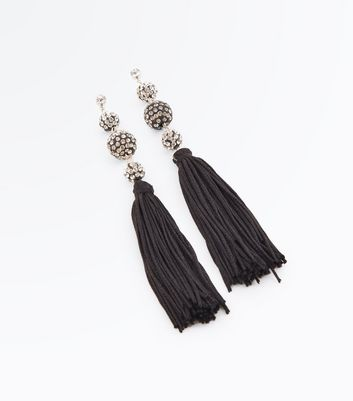 Black Embellished Bead Tassel Earrings