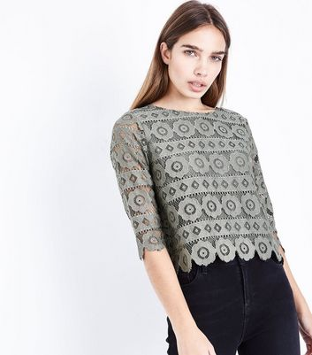 Olive Green Crochet Lace 3/4 Sleeve Top