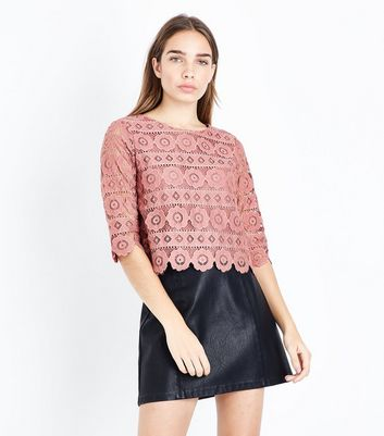 Plum Crochet Lace 3/4 Sleeve Top