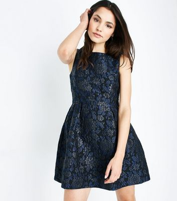 Blue Vanilla Blue Floral Jacquard Dress