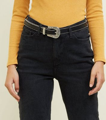 Black Chain Edge Western Belt