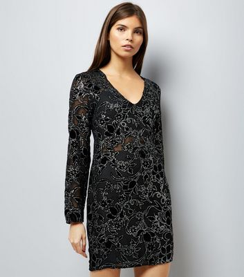Parisian Black Velvet Embellished Long Sleeve Dress