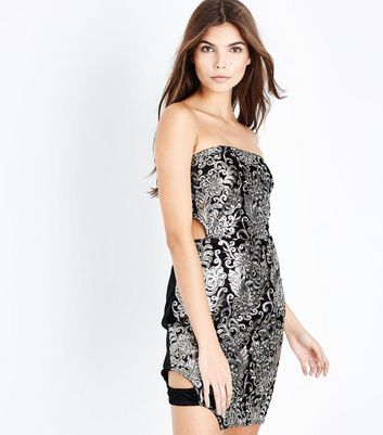 Parisian Gold Sequin Embellished Strap Side Dress