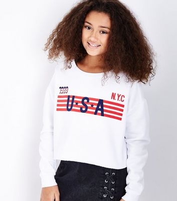 Teens White USA Stripe Logo Sweatshirt