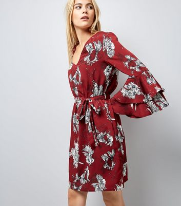 Parisian Red Layered Bell Sleeve Floral Print Dress