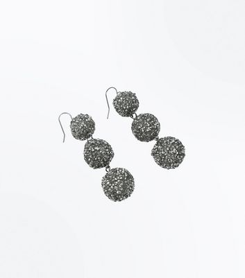 Silver Sparkle Orb Drop Earrings